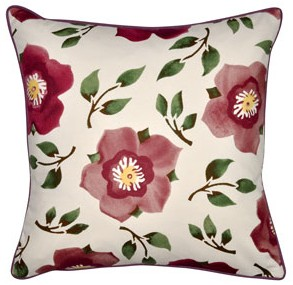 Hellebore and Coral Cushion - Emma Bridgewater