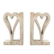 Hand carved wooden heart bookends - Debenhams
