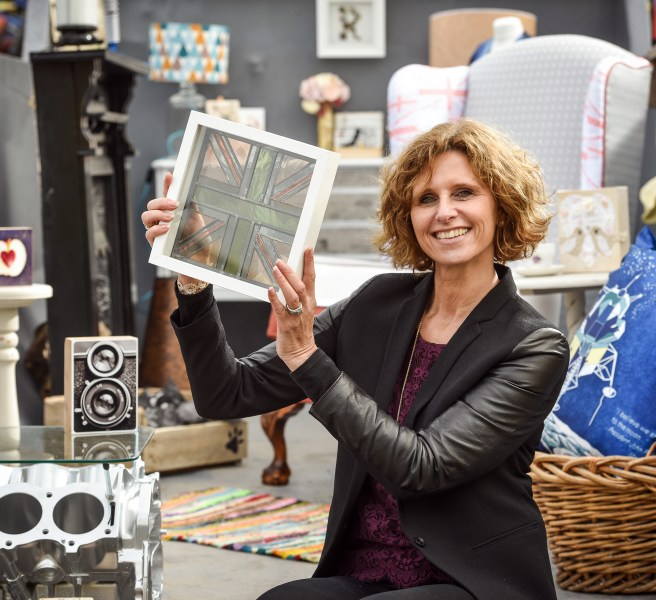 Remade in Britain Founder Donna Fenn shows off some of the retailers - high res