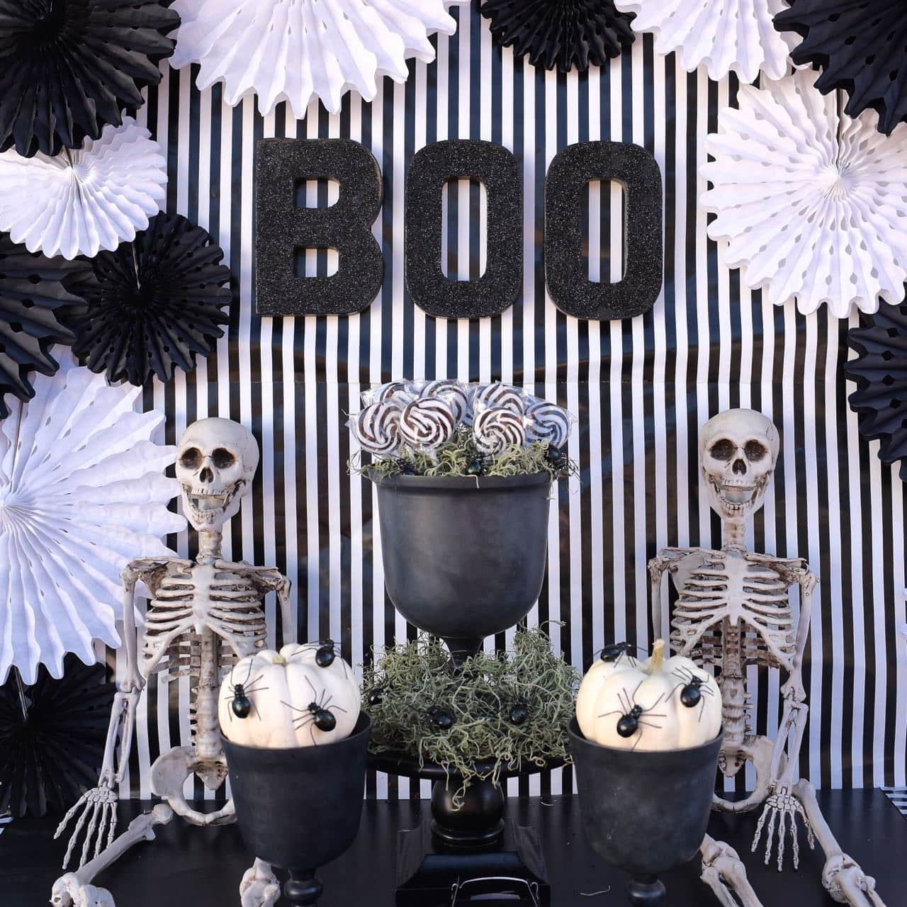 String Lights Make Your Own Black And White Halloween Party - Make Life Lovely