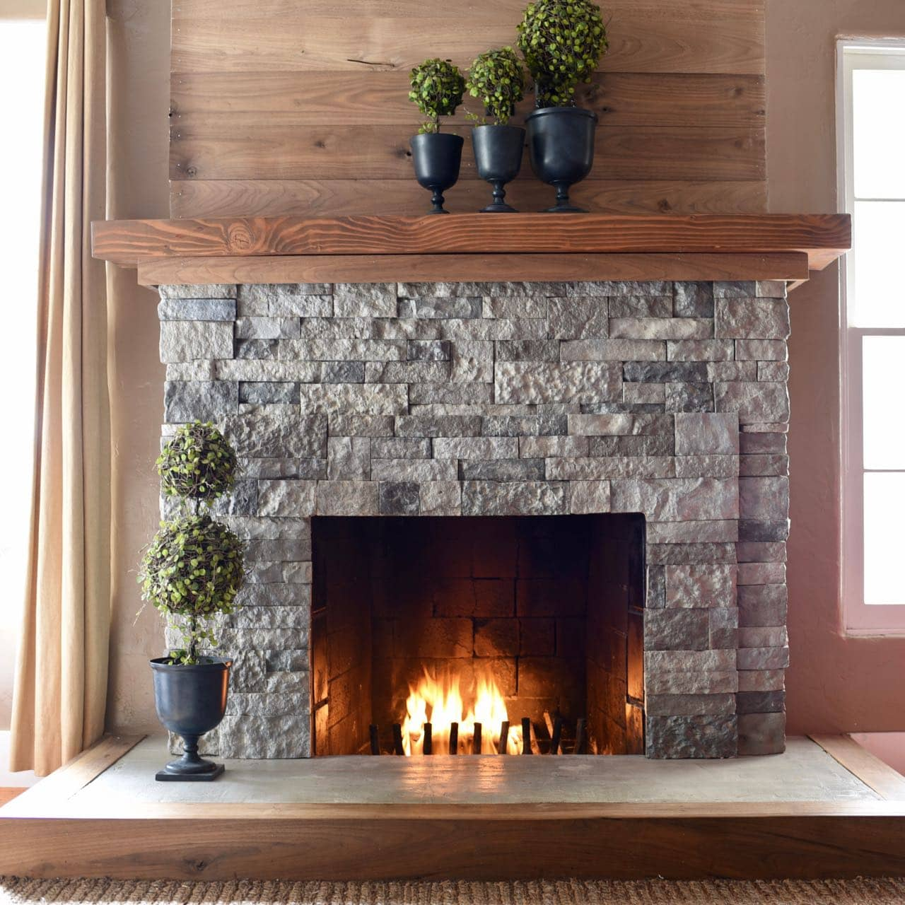 Update Old Brick Fireplace Airstone Fireplace Makeover From Ugly To Incredible