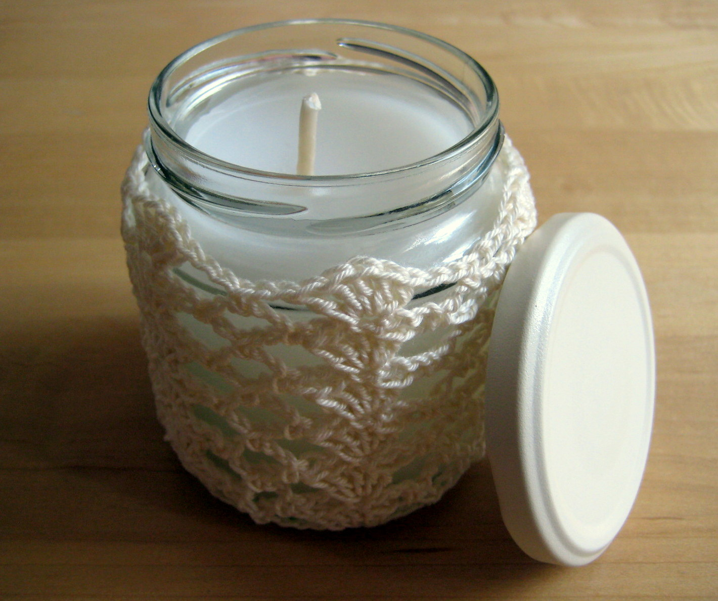 Menu Windlicht Crochet Jar Cover I: Shells And Lace | Make My Day Creative