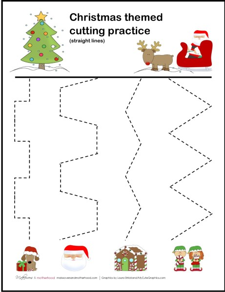Christmas cutting practice printable; www.makeoversandmotherhood.com