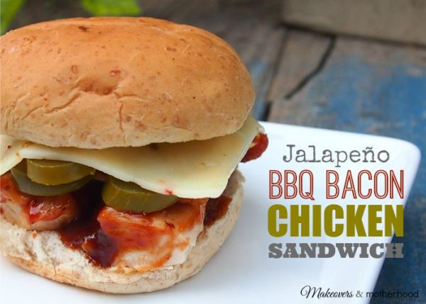 Jalapeno BBQ Bacon Chicken Sandwich; www.makeoversandmotherhood.com