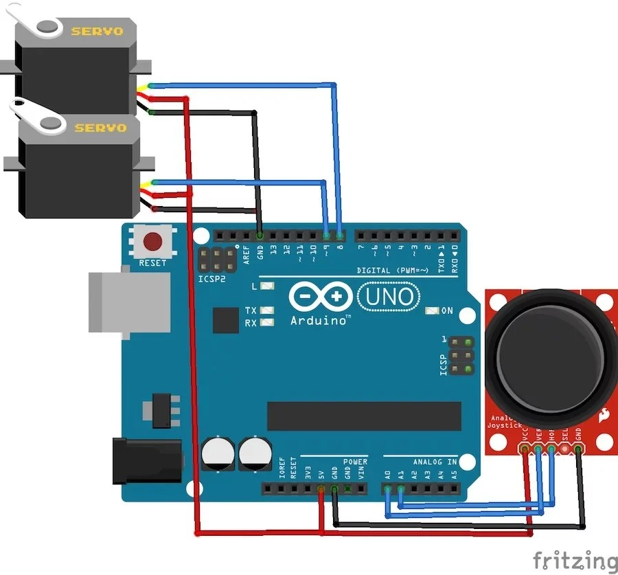 How to Control Servo Motors With an Arduino and Joystick Arduino