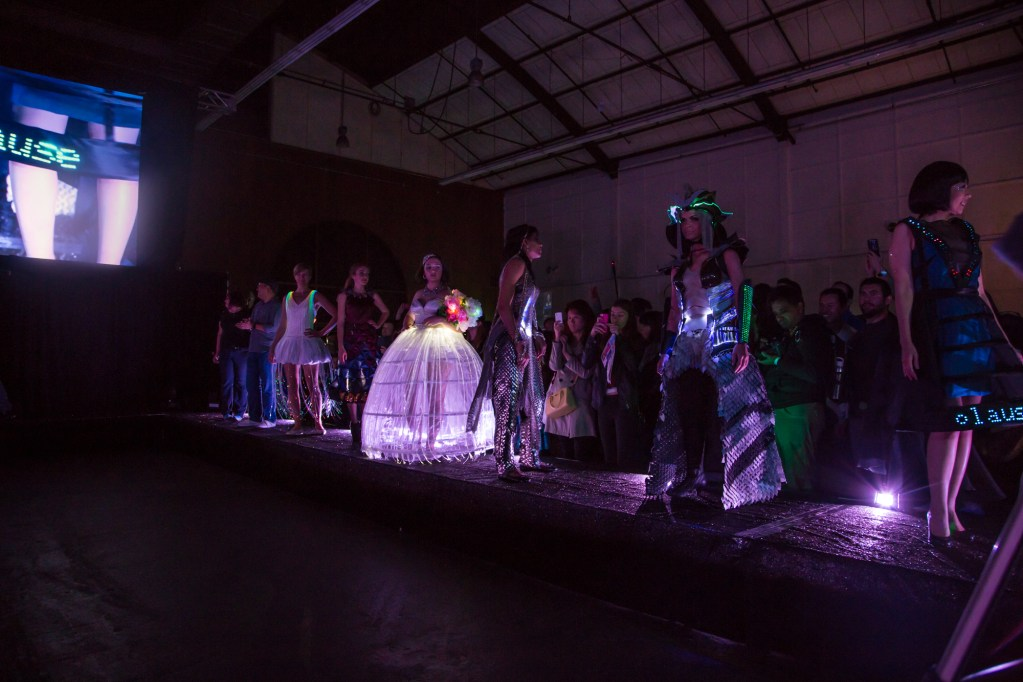 Working the catwalk at the Wearables Fashion Show.