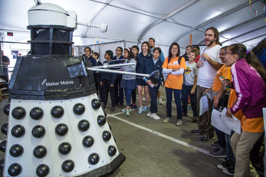 The Maker Mobile Dalek performs for the crowd.