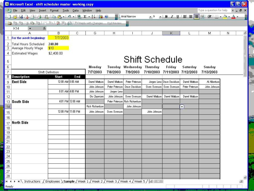 how to create an employee schedule in excel - Canasbergdorfbib