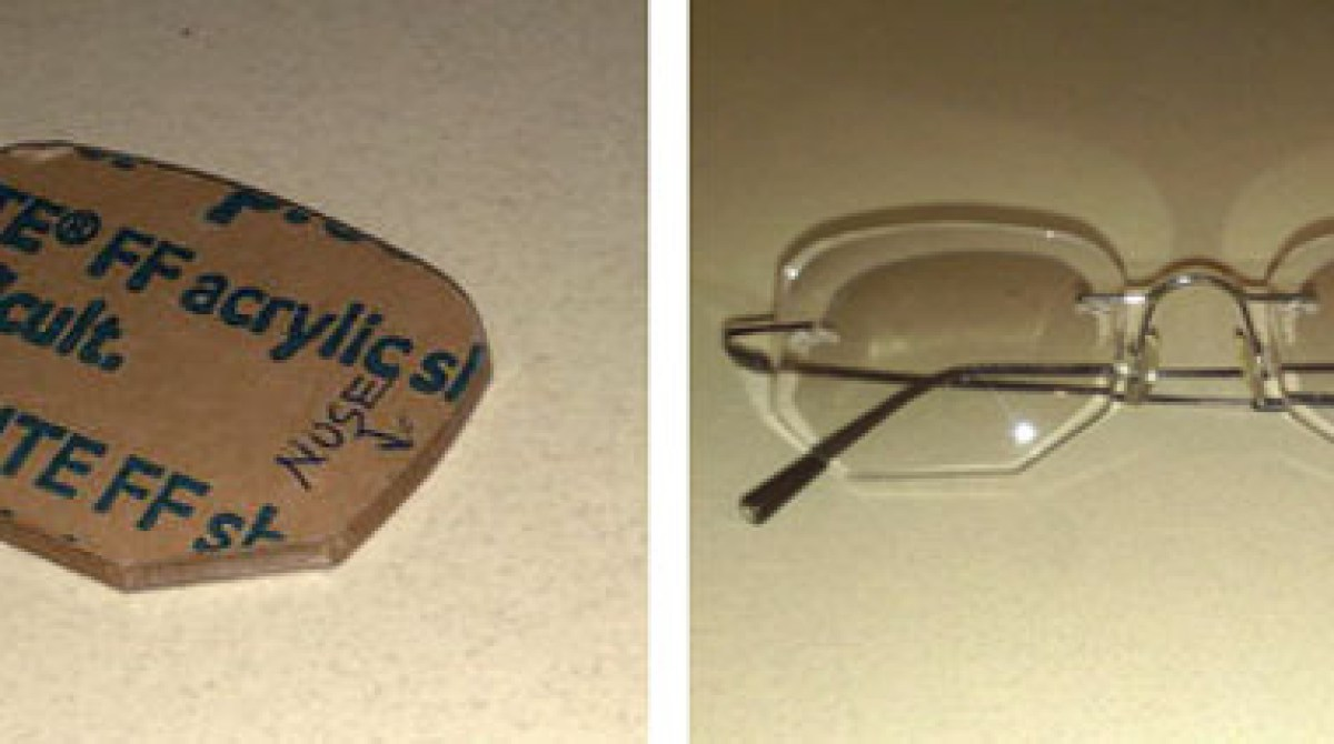 Frameless Glasses Shape : Make: Projects - Custom-Shaped Frameless Eyeglasses Make:
