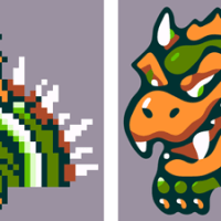 Bowser, original sprite scaled directly, and vectorized with new algorithm