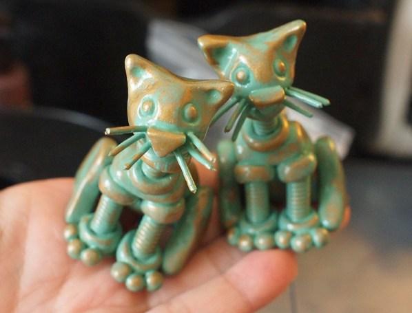 Mini Patina Garden Robot Cats