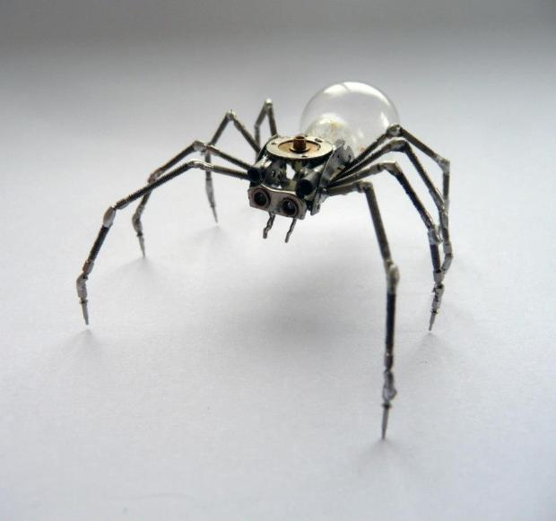 Another spider, the legs are made from multiple winding stems.