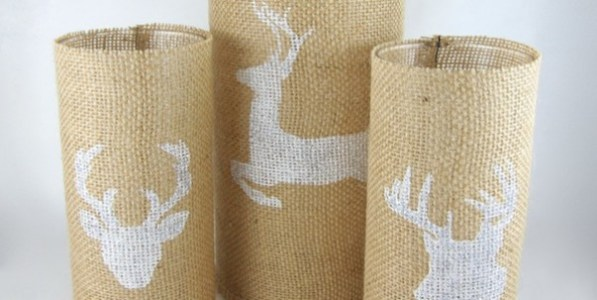 burlap stenciled candles