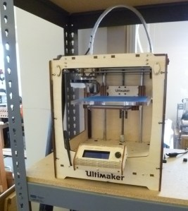 This is one of two Ultimakers at MAKE Labs. There are other 3D Printers scattered throughout the shop in various stages of completion.