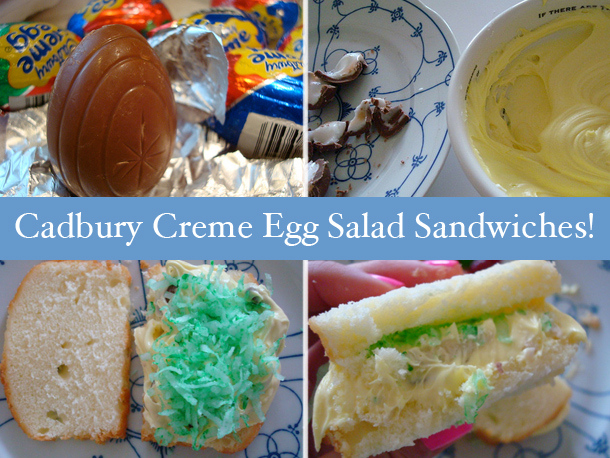 Pound cake + frosting + Cadbury eggs + almonds + green shredded coconut = O. M. G.