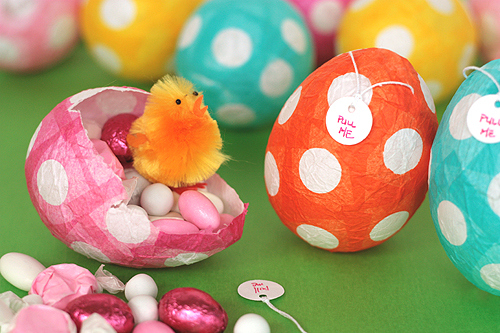 Here's something a little different: make your own Easter eggs out of paper mache, fill them with treats, and give them to friends and family.