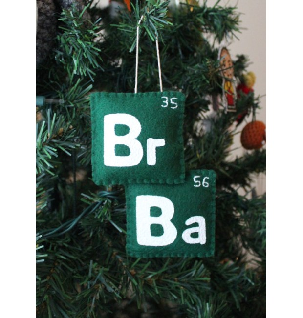 Felt ornaments, featuring the show's logo, the periodic table squares for bromine and barium. (By Etsy member madebygwen)