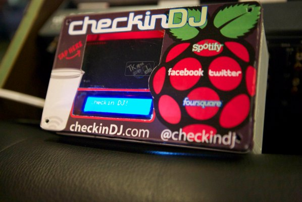 The system known as 'CheckinDJ' utilises NFC enabled objects, linked to individual venue patrons social network accounts, to create a dynamic music play-list for the venue based on the combined music genre preferences of the customers currently present.  The novel approach to an old time classic ('The Jukebox') revealed through the curation of ambient music played in venues through Near Field Communications (NFC) enabled check-ins.