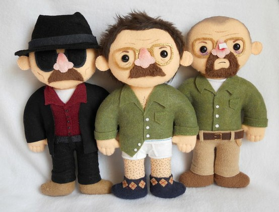 Miss Coffee made these adorable plushie Walters: Heisenberg, tightie whities, broken nose.