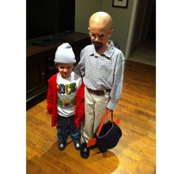 Houston sports reporter Lance Zierlein dressed his kids up as season 1 Jesse and Walt. Pretty funny.