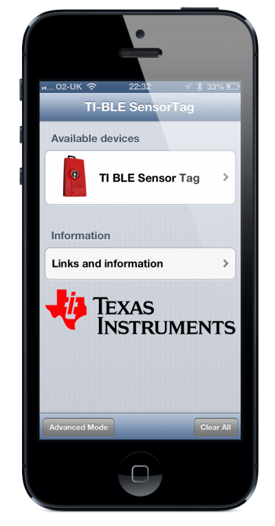 The TI SensorTag showing up in the list of discovered devices. Other CC2541 devices will also appear in the list.