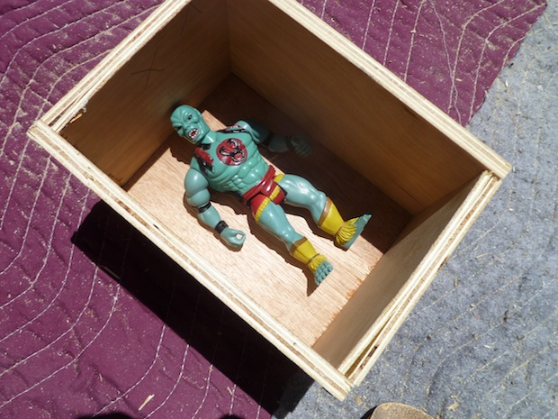 After a bit of sanding, Mumm-Ra has a nice little spot to chill in. What will you use your box for?