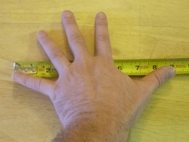 If you need rough measurements, knowing the sizes of certain body parts can come in handy. For instance, my foot is a foot, my hand span is nine inches, my pinky width is one centimeter, and my arm span is six feet.