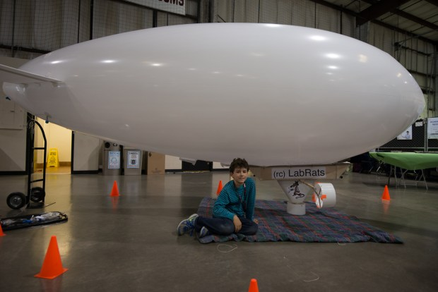 Almost ready. This blimp is the work of two 8-year-old boys from (rc) LabRats, a San Francisco-based young makers club.