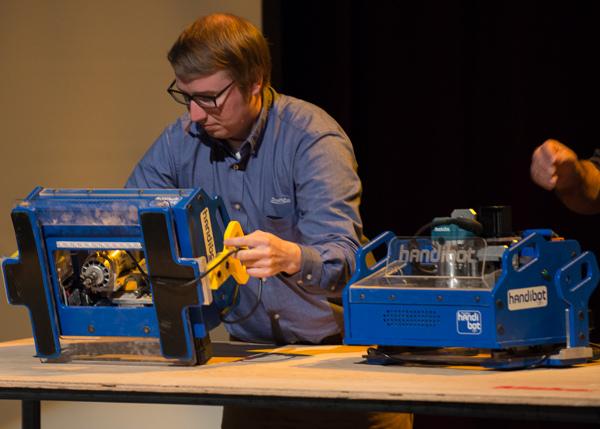 ShopBot unveiled the Handibot, a portable CNC machine.