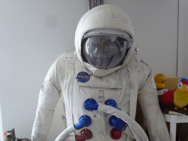 Alex Dodge made this NASA spacesuit by hand. It has become something of a mascot for the group.
