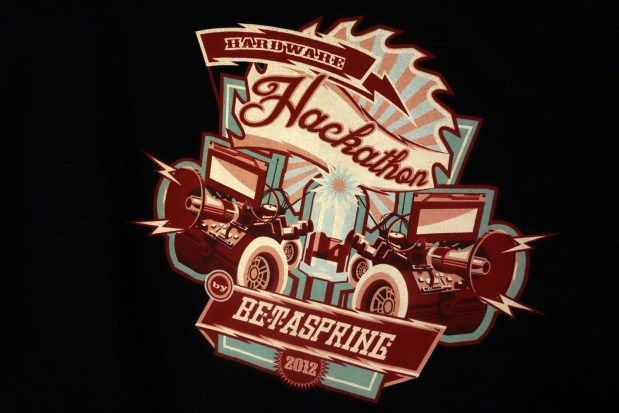 On display in the Betaspring hallway was this awesome-ly designed t-shirt from their 2012 Hardware Hackathon.