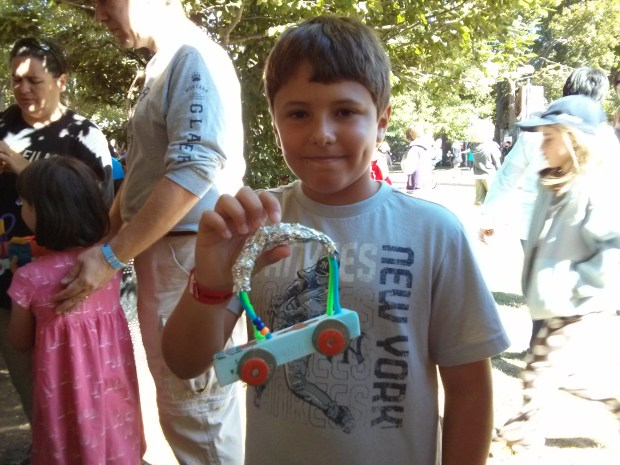 This young maker was ready to race, but still deciding what to name his car.