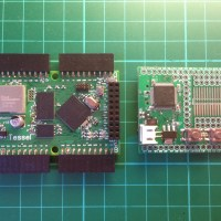 The Tessel board (right) and the Espruino board (left)