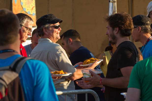 Maker Media Founder and CEO Dale Dougherty serves up paella to hngry makers.