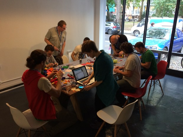 Some #GBNC attendees working away over lunch to build soft circuits at the Codasign workshop.