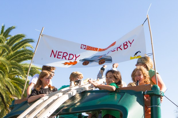 The Nerdy Derby utilized the Park Day School's slide as a track.
