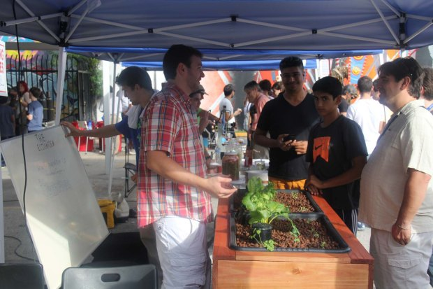 The EcoGarden demonstrates their food production system that uses biological materials to provide nutrients for plants.