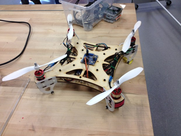 A small, student-built quadcopter.