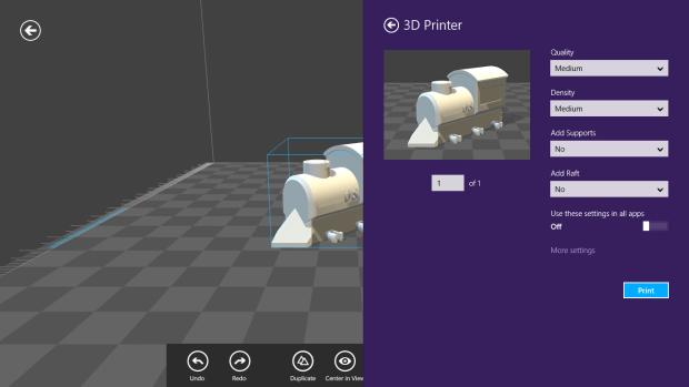 3D Builder: print settings