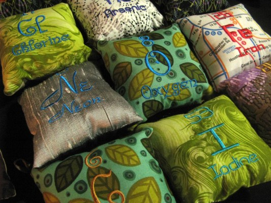 Seen at DCF: One of my favorite all-time craft fair finds, elemental pillows!
