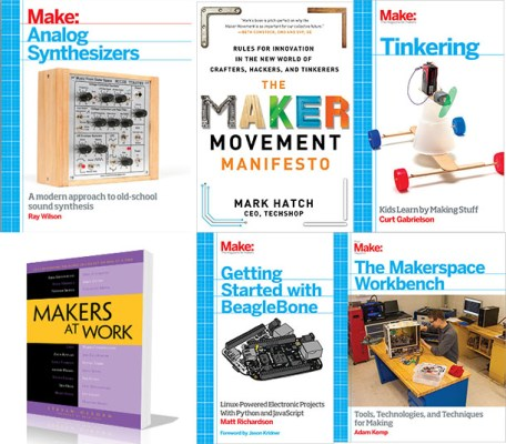 My time grows short, so quick, here are some more:  Make: Analog Synthesizers (May 2013) The Maker Movement Manifesto (September 2013) Tinkering (September 2013) Makers at Work (September 2013) Getting Started with BeagleBone (October 2013) The Makerspace Workbench (September 2013)