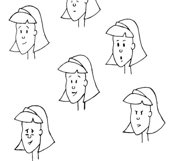 Initial concept sketches of Mom's many moods