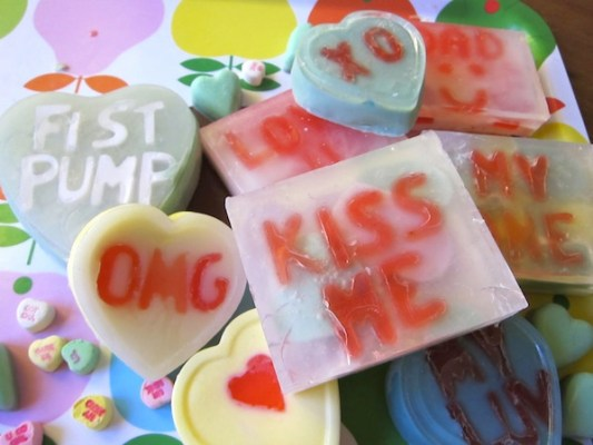 "Make cute, custom conversation heart soap with this fun tutorial from Sonya Nimri. She says: ""This Valentine's Day, get creative with the ever so useful and practical gift of soap. Not just any soap (because that would be plain boring) but soap displaying a special message for your love."""