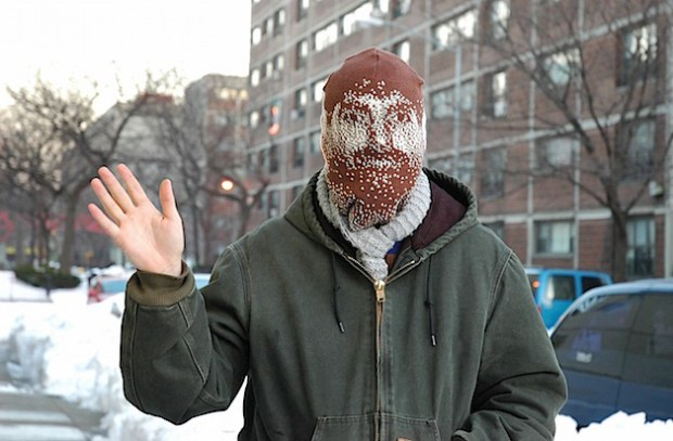 Andrew Salomone's self-portrait ski mask.