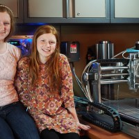 Camille and Genevieve Beatty with their CNC mill.