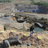 Spain slate mine restoration with biodegradable Groasis Waterboxx.