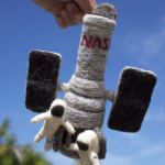 Needle-felted Hubble space telescope by Jen Scheer.