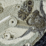Detail shot of Rachel Hobson's incredible moon embroidery.