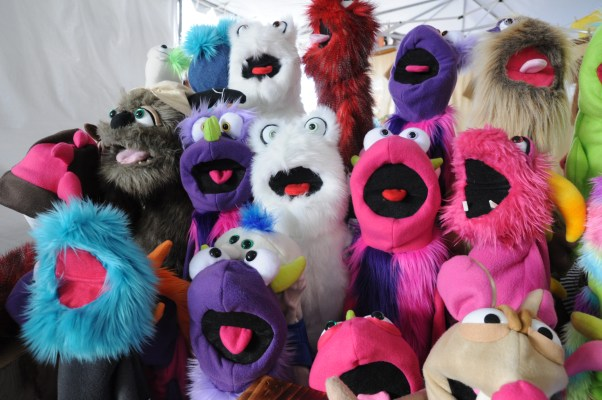 A fuzzy flock of friends are waiting to play with you. These puppets made by [Puppet Bakery](http://puppetbakery.com/) are 100% gluten free!