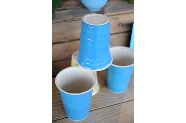 Ceramic solo cups are the newest design in Laurel Begley's beautiful line of housewares.